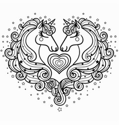 two unicorns with a long mane the magical animal vector image