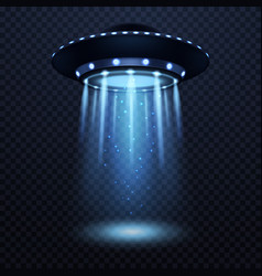 ufo realistic alien spaceship with blue light vector image
