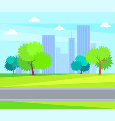 Urban buildings and offices green tree on backdrop vector