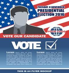 Usa 2016 election a4 flyer mockup with country map vector