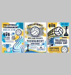 volleyball sport tournament summer camp game vector image