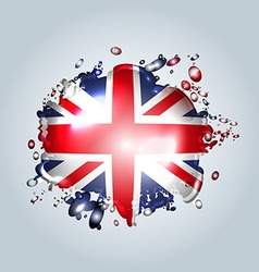Water droplets with a English flag vector
