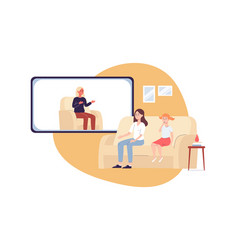 Woman with daughter on psychologist online session vector
