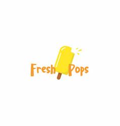 yellow popsicle ice cream logo sign icon vector image