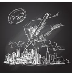 city background sketch vector image vector image