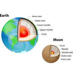Earth and Moon internal structure vector image vector image
