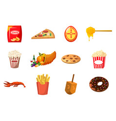 Food icon set cartoon style vector