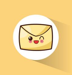 kawaii message email cartoon vector image