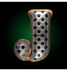 metal and wood figure j vector image