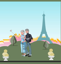 old couple travel together vector image vector image