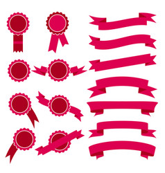 set of pink stamps and ribbons vector image vector image