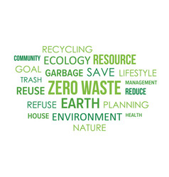 zero waste community tag cloud word collage vector image