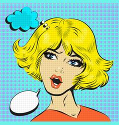 blond woman shocked surprised pop art comic style vector image