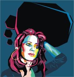 flat polygon woman portrait vector image