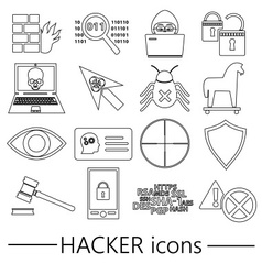 Hacker and computer security theme outline icons vector