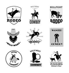 Rodeo Black Emblems Set vector image vector image