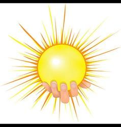 Sun in people hand vector