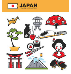 japan travel famous landmarks and japanese culture vector image vector image
