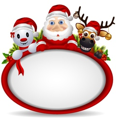 santa claus deer and snowman vector image vector image