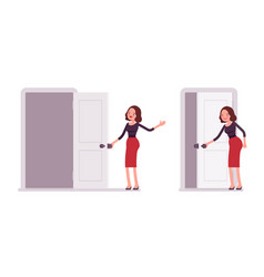 set of young secretary opening and closing the vector image