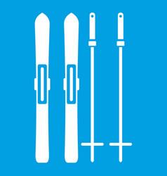 skis and ski poles icon white vector image vector image