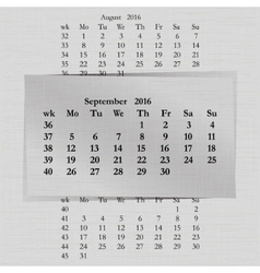 calendar month for 2016 pages September start vector image vector image