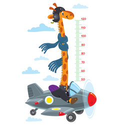 giraffe on plane meter wall or height chart vector image