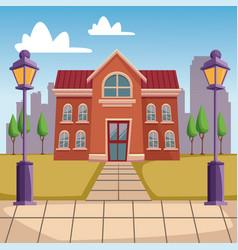 high school building cartoon vector image