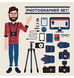 Professional photographer set kit with cameras vector