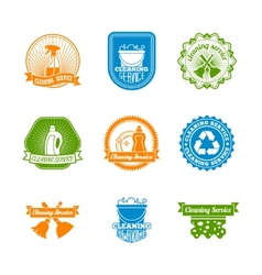 Set of cleaning color label vector image