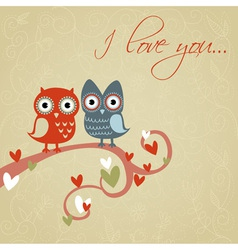 Valentine love card with cute romantic owls vector image