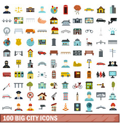 100 big city icons set flat style vector image
