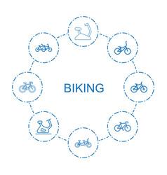 8 biking icons vector