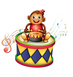 A monkey above a big drum vector image
