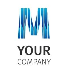 Abstract blue logo M vector