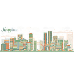 abstract hangzhou skyline with color buildings vector image