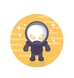 Alien astronaut round icon in flat style vector