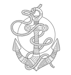 Anchor and rope coloring book vector