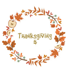 autumn wreath and inscription thanksgiving isolate vector image
