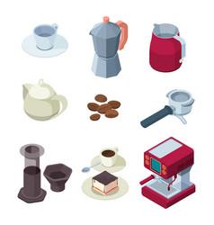 barista equipment natural black coffee machines vector image