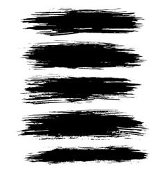 Black ink brush strokes background vector image