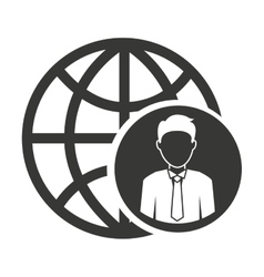 businessman on planet isolated icon design vector image