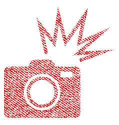 camera flash fabric textured icon vector image