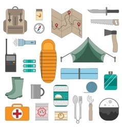 Camping equipment icons set vector