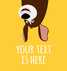 Card with funny cartoon dog vector
