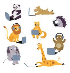 cartoon animal kids sitting with laptop vector image