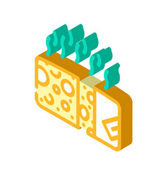 Cheese smell isometric icon vector