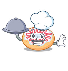 Chef with food jelly donut mascot cartoon vector