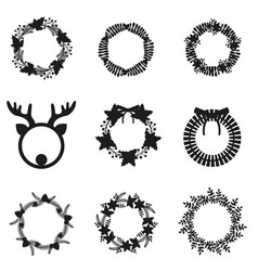 Christmas wreath and garlands set vector