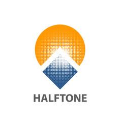 circle sun square halftone logo concept design vector image
